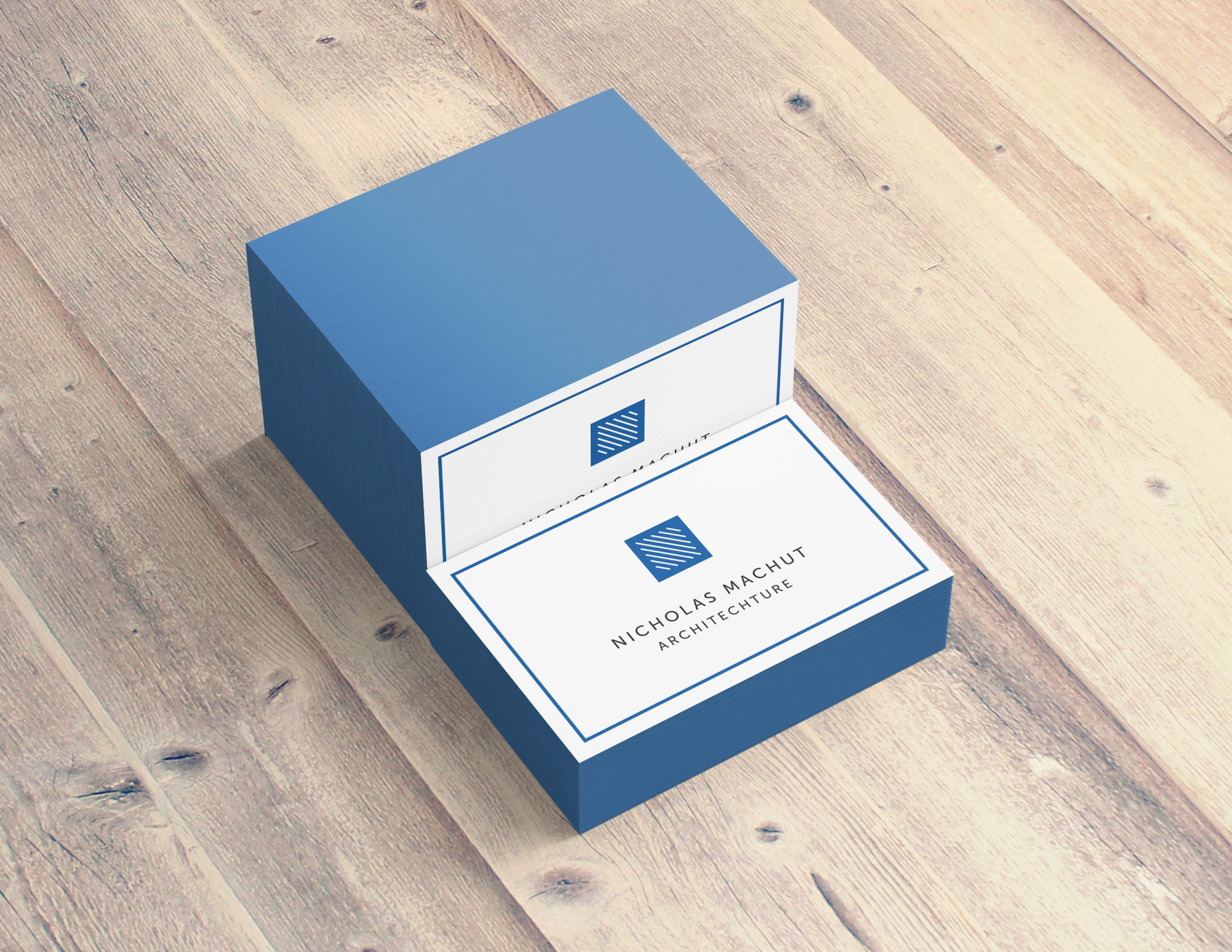 Blue Painted Edge Business Cards